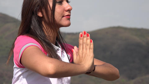 Yoga Pose In Mountains Footage