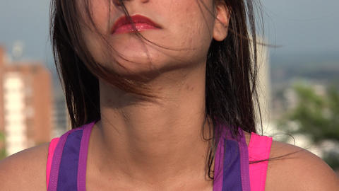 Face Of A Woman On Windy Day Footage