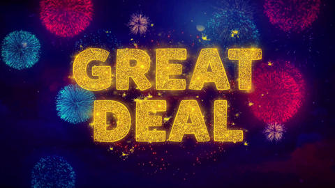 Great Deal Text on Colorful Ftirework Explosion Particles Live Action