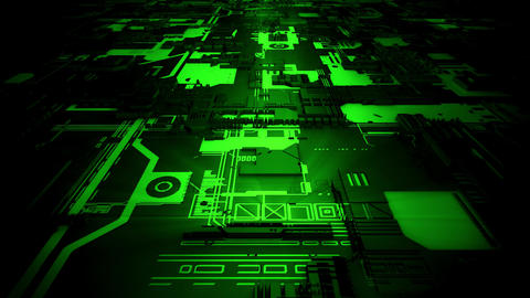 3D Green Sci-Fi Mother Board Circuits Intro Logo Background Animation