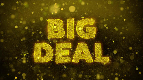 Big Deal Text on Golden Glitter Shine Particles Animation Live Action