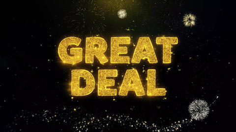 Great Deal Text on Gold Particles Fireworks Display Live Action