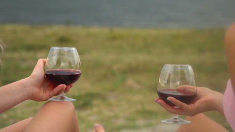Girlfriends drink wine on the beach. Girlfriends staged a picnic on the beach Live Action