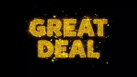 Great Deal Text Sparks Particles on Black Background Live Action