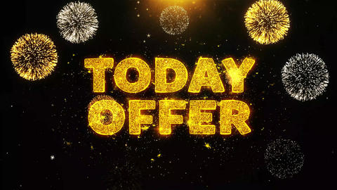 Today Offer Text on Firework Display Explosion Particles Footage