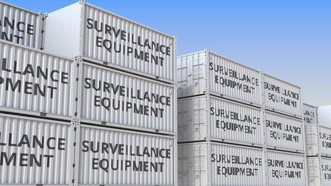 Cargo containers with surveillance equipment. Loopable 3D animation Footage