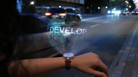 Unrecognizable woman with hologram Develop Live Action