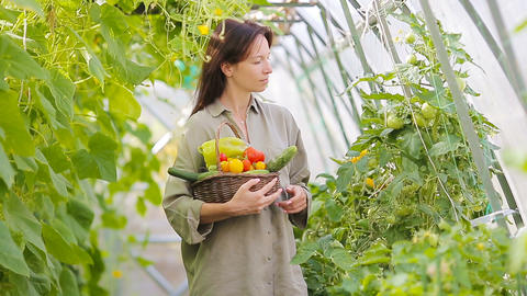 Young woman with basket of greenery and vegetables in the greenhouse. Time to Live Action