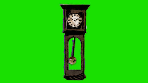 Old Wall Clock in Artistic Stop Motion Style on a Green Screen Footage