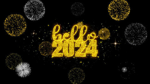 Hello 2024 New Year Text Wish Reveal on Glitter Golden Particles Firework Footage