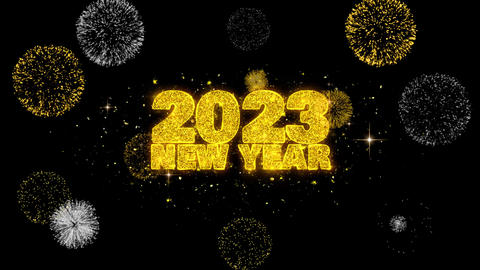 2023 New Year Sky Text Wish Reveal on Glitter Golden Particles Firework Footage