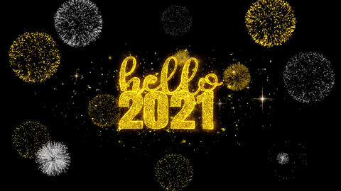 Hello 2021 New Year Text Wish Reveal on Glitter Golden Particles Firework Footage