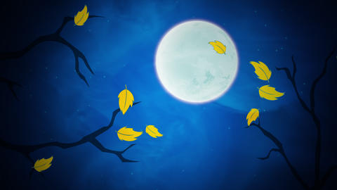 Halloween background animation with the leaves and moon CG動画