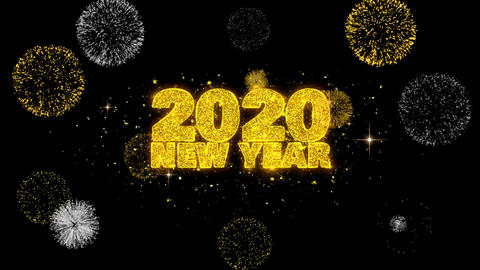2020 New Year Text Wish Reveal on Glitter Golden Particles Firework Footage