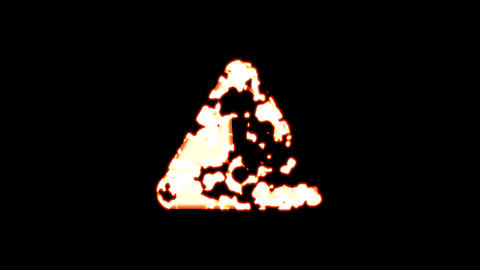 Symbol exclamation triangle burns out of transparency, then burns again. Alpha channel Premultiplied Animation
