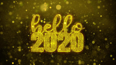 Hello 2020 Wish Text on Golden Glitter Shine Particles Animation Footage