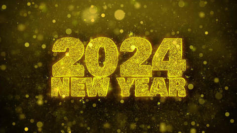2024 New Year Wish Text on Golden Glitter Shine Particles Animation Footage