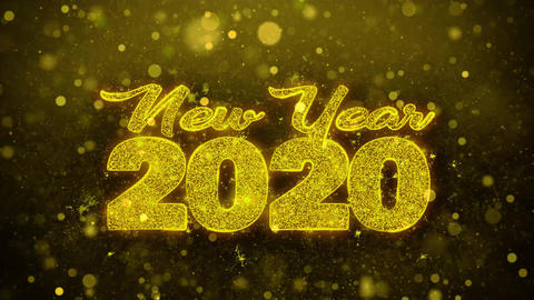 New Year 2020 Wish Text on Golden Glitter Shine Particles Animation Footage