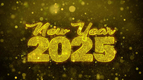 New Year 2025 Wish Text on Golden Glitter Shine Particles Animation Footage