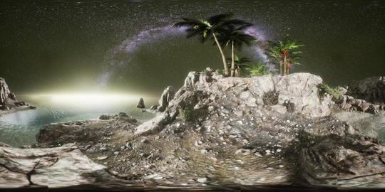 VR 360 Beautiful fantasy tropical beach with Milky Way star in night skies Live Action