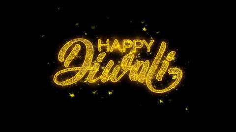 Happy Diwali wish Text Sparks Particles on Black Background Footage