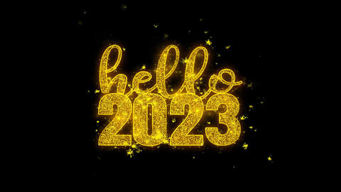 Hello 2023 New Year wish Text Sparks Particles on Black Background Footage