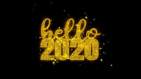 Hello 2020 New Year wish Text Sparks Particles on Black Background Footage