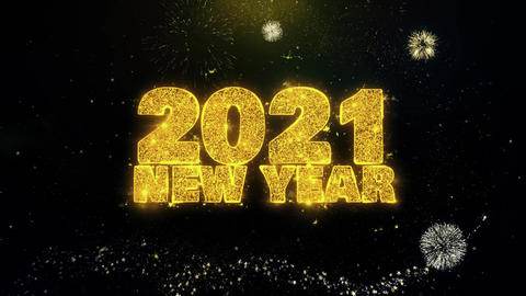 2021 New Year Text Wish on Gold Particles Fireworks Display Footage