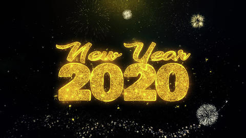 New Year 2020 Text Wish on Gold Particles Fireworks Display Footage