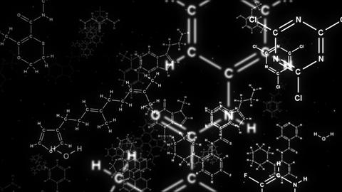 Camera flights into chemical formulas on a black background Videos animados