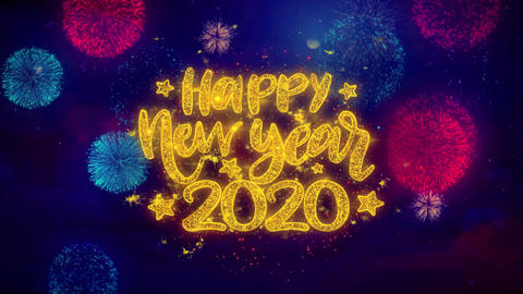 Happy New Year 2020 wish Text on Colorful Ftirework Explosion Particles Footage
