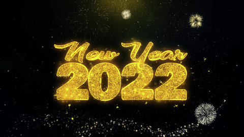 New Year 2022 Text Wish on Gold Particles Fireworks Display Footage