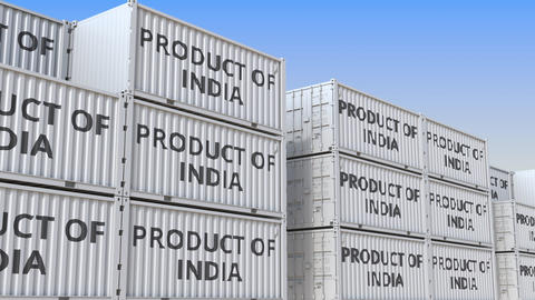 Containers with PRODUCT OF INDIA text in a container terminal, loopable 3D Live Action