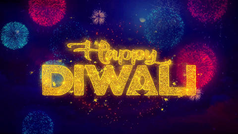 Happy Diwali wish Text on Colorful Ftirework Explosion Particles Live Action