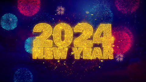 2024 New Year wish Text on Colorful Ftirework Explosion Particles Footage