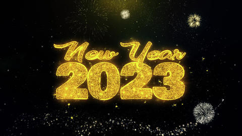 New Year 2023 Text Wish on Gold Particles Fireworks Display Footage