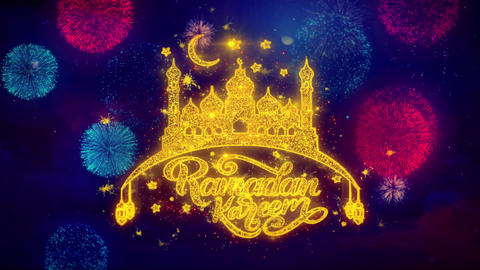 Ramadan Kareem wish Text on Colorful Ftirework Explosion Particles Live Action