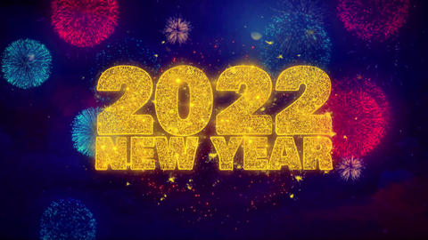 2022 New Year wish Text on Colorful Ftirework Explosion Particles Footage