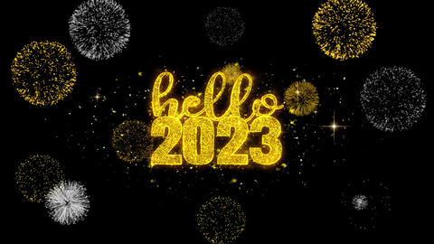 Hello 2023 New Year New Year Text Wish Reveal on Glitter Golden Particles Live Action