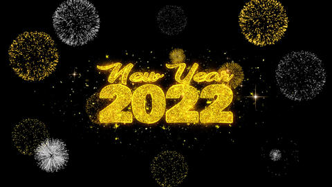 New Year 2022 Text Wish Reveal on Glitter Golden Particles Firework Footage
