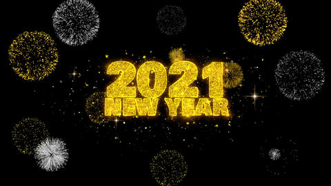 2021 New Year Text Wish Reveal on Glitter Golden Particles Firework Footage