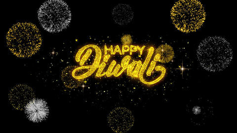Happy Diwali Text Wish Reveal on Glitter Golden Particles Firework Footage