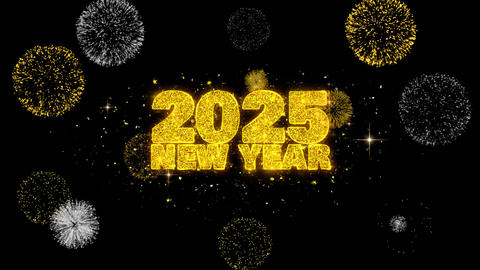 2025 New Year Text Wish Reveal on Glitter Golden Particles Firework Footage