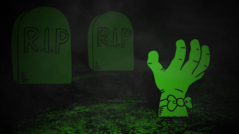 Halloween background animation with the hand in cemetery 애니메이션