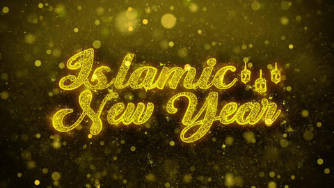 Islamic New Year Wish Text on Golden Glitter Shine Particles Animation Footage