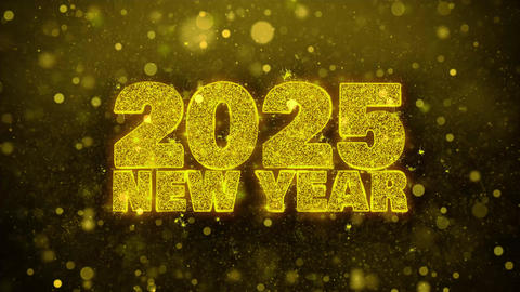 2025 New Year Wish Text on Golden Glitter Shine Particles Animation Footage