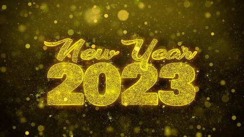 New Year 2023 Wish Text on Golden Glitter Shine Particles Animation Footage