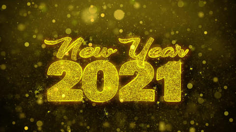New Year 2021 Wish Text on Golden Glitter Shine Particles Animation Footage