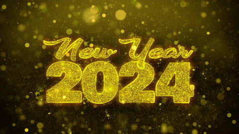 New Year 2024 Wish Text on Golden Glitter Shine Particles Animation Footage
