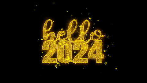 Hello 2024 New Year wish Text Sparks Particles on Black Background Footage